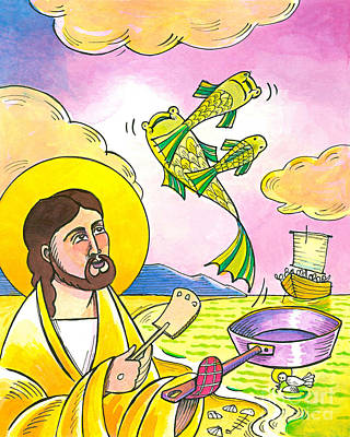 Painting - Jesus - Fish Fry With Friends - Mmfff by Br Mickey McGrath OSFS