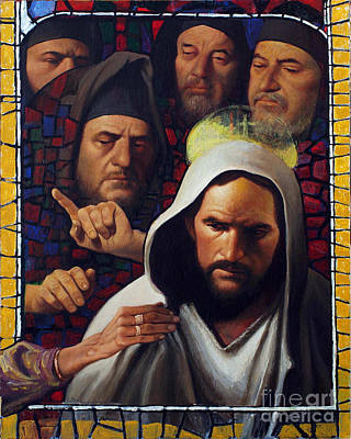 Painting - Jesus' Foes - Lgjef by Louis Glanzman