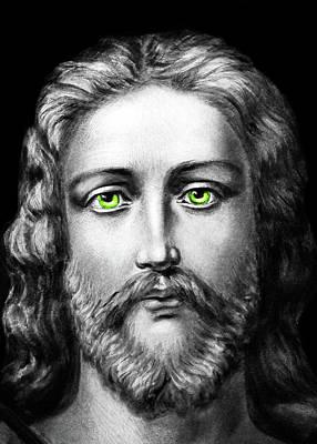 Photograph - Jesus Green Eyes by Munir Alawi