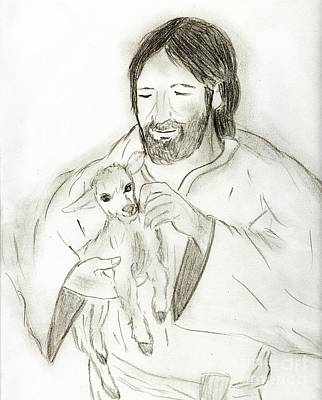 Jesus Drawing - Jesus Holding Lamb by Sonya Chalmers