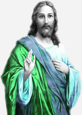 Photograph - Jesus In Blue And Green by Munir Alawi