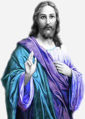 Photograph - Jesus In Blue by Munir Alawi