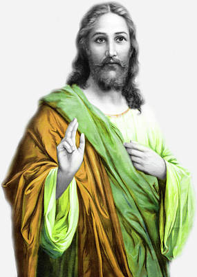 Photograph - Jesus In Green by Munir Alawi