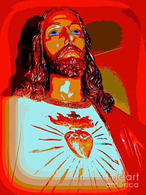 Digital Art - Jesus In Orange by Ed Weidman