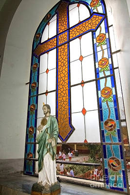 Jesus In The Church Window And School Girls In The Background Original by Sven Brogren