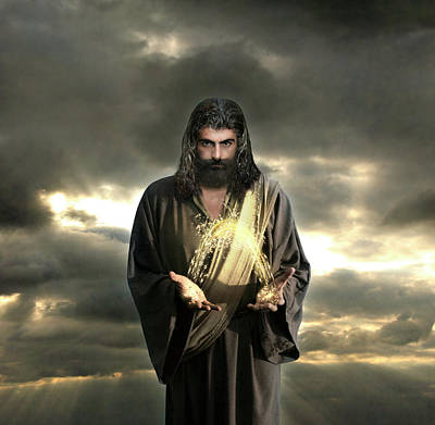 Jesus In The Clouds With Radiant Power Art Print