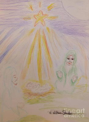 Pencil Drawing Of Jesus Drawing - Jesus Is Born by N Willson-Strader