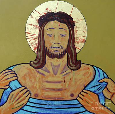 Condemn Painting - Jesus Is Stripped by Sara Hayward