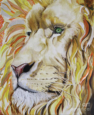 Prophetic Mixed Media - Jesus Is Worthy - The Lion Of Judah by Sonia Farrell