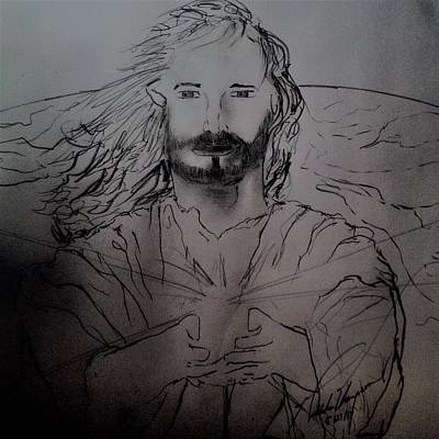 Drawing - Jesus Light Of The World Full by Love Art Wonders By God