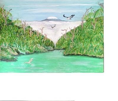 River.etc Painting - Jesus Lizard by Emmanuel Nwogbo