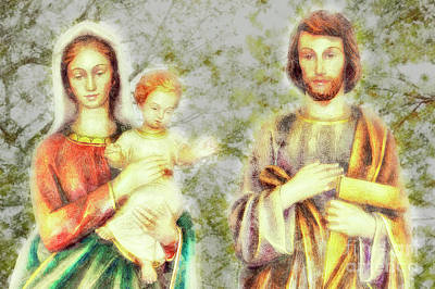 Jesus, Mary, And Joseph, We Love You, Save Families Art Print by Davy Cheng