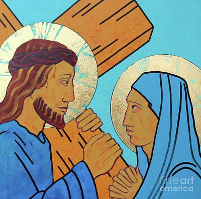 Via Dolorosa Painting - Jesus Meets His Mother by Sara Hayward
