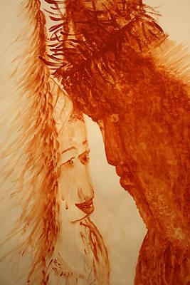Painting - Jesus Meets Mother Mary On The Road To Calvary by Gloria Ssali