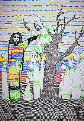 Lion And The Lamb Drawing - Jesus Meets Zaccheus by Gloria Ssali