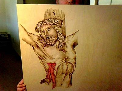 David Gray Pyrography - Jesus On The Cross by David Gray