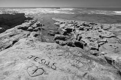 Pacific Coast Photograph - Jesus On The Rock Black And White by Scott Campbell