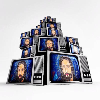 Jesus On Tv Art Print