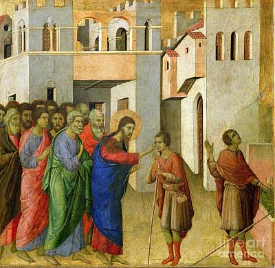 Tempera Painting - Jesus Opens The Eyes Of A Man Born Blind by Duccio di Buoninsegna