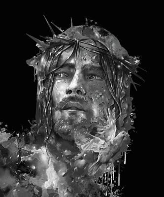 Surrealism Digital Art - Jesus Portrait Black by Bekim M
