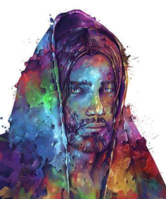 Surrealism Digital Art - Jesus Portrait Color 2 by Bekim M