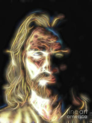 Painting - Jesus Portrait Fractal Tapestry by Dave Luebbert