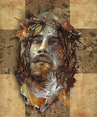 Surrealism Digital Art - Jesus Portrait Sepia by Bekim M