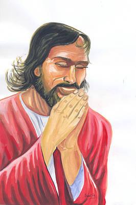 Art Print featuring the painting Jesus Praying by Emmanuel Baliyanga