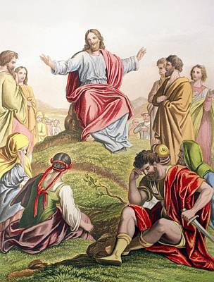 Bible Drawing - Jesus Preaching The Sermon On The by Vintage Design Pics