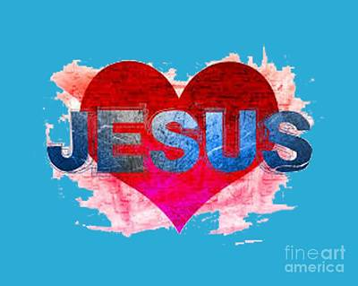 Painting - Jesus Red Heart T-shirt by Herb Strobino