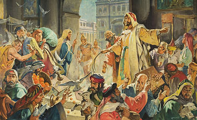 Parable Painting - Jesus Removing The Money Lenders From The Temple by James Edwin McConnell