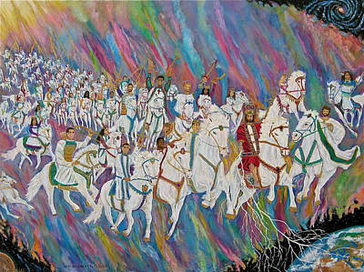 Painting - Jesus Return On White Horse 2 by Mike De Lorenzo