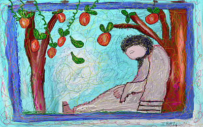 The Trees Mixed Media - Jesus Sleeping Under The Apple Tree by Ian Roz