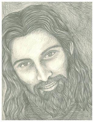 Smiling Jesus Drawing - Jesus Smile by Nitin Murthy