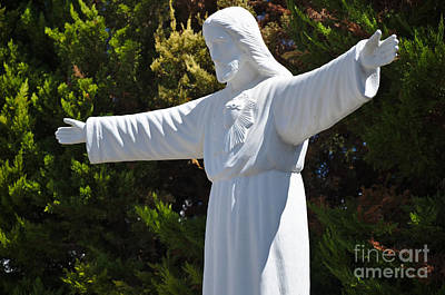Christianity Photograph - Jesus Statue And Pine Trees 2 by Angelo DeVal