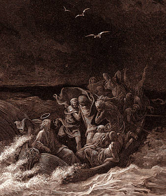 New Testament Drawing - Jesus Stilling The Tempest by Gustave Dore
