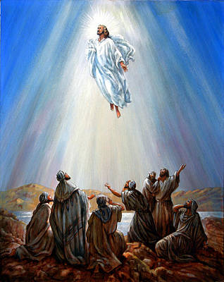 Disciples Painting - Jesus Taken Up Into Heaven by John Lautermilch