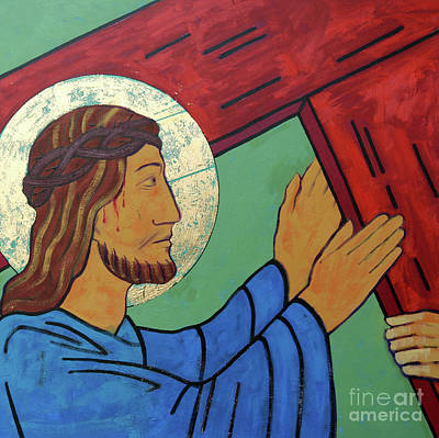 The Wooden Cross Painting - Jesus Takes Up His Cross by Sara Hayward