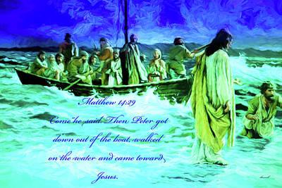 Digital Art - Jesus Walked On Sea Of Galilee by Dennis Baswell
