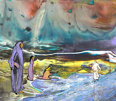 Jesus Walking On The Water Art Print by Miki De Goodaboom