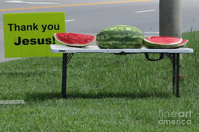 Photograph - Jesus Watermelon by Randall Weidner