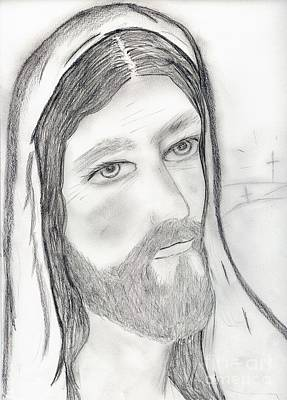 Jesus Drawing - Jesus With Crosses by Sonya Chalmers