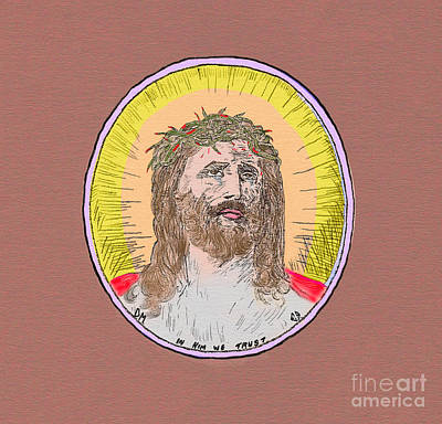 Painting - Jesus With Crown Of Thorns Dark Matte by Donna L Munro