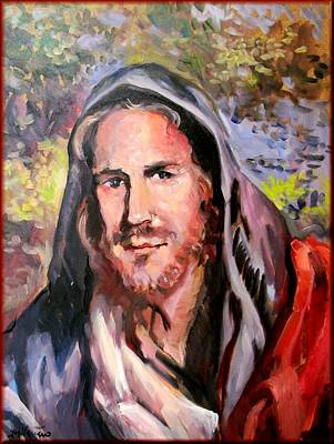 A Summer Evening Landscape Painting - Jesus With Landscape by Vaccaro