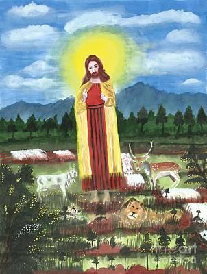 Falls Drawing - Jesus With Neutrino Effect by Karthikeyan Balasubramanian