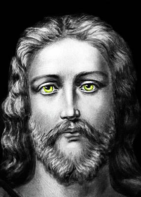 Photograph - Jesus Yellow Eyes by Munir Alawi