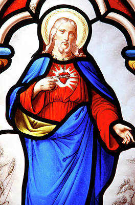 Christian Sacred Photograph - Jesus's Sacred Heart by Unknown