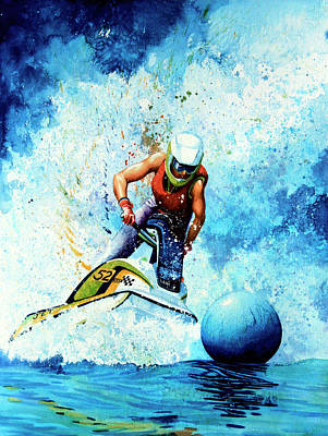 Water Ski Painting - Jet Blue by Hanne Lore Koehler