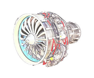 Digital Art - Jet Engine by PixBreak Art