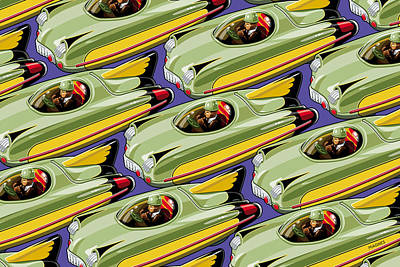 Digital Art - Jet Racer Rush Hour by Ron Magnes